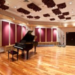 University of Michigan Audio Studio Main Tracking Room - Steinway Grand Piano | Ceiling Diffusers | Adjustable Acoustic Panels | Numerous Mic Tie Panels